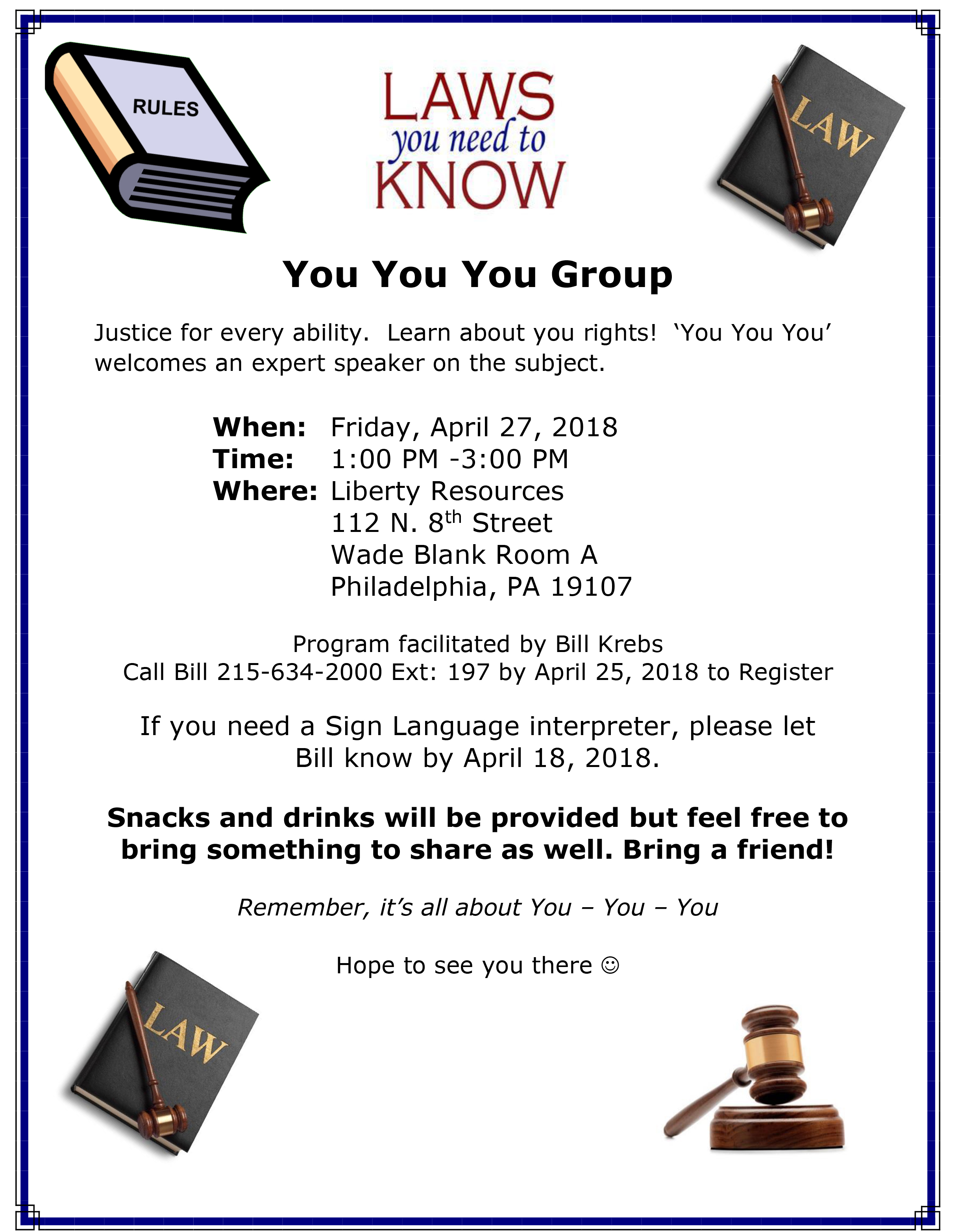 You You You flyer 4/27 meeting. Expert on disability rights will be present.